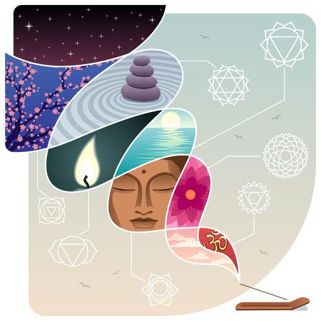 Conceptuele illustratie voor ontspanning en innerlijke rust. Geen transparantie gebruikt. Stock Illustratie