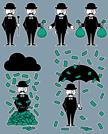 Set van 6 illustraties met rijke hipster karakter. Geen transparantie en gradiënten.