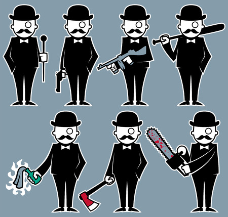 Set of 7 illustrations with violent hipster character. No transparency and gradients used. Vector