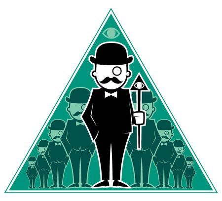 monopolio: Ilustración conceptual para la sociedad secreta. Sin transparencia y degradados utilizados. Vectores