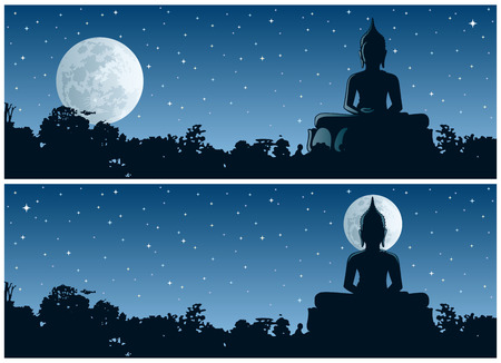 cambodia sculpture: Buddha statue in the jungle at night. 2 different versions. No transparency used. Basic (linear) gradients used.