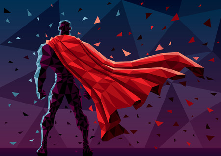 super men: Low poly superhero background. No transparency used. Basic (linear) gradients. Illustration
