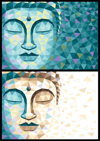 Abstract illustration of Buddha in 2 versions. No transparency and gradients used. Illustration