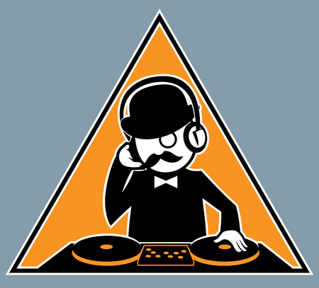 Illustration of hipster DJ. No transparency and gradients used. Vector