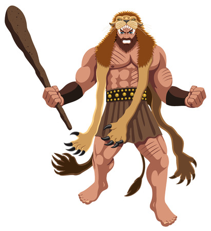 Heracles over white background. No transparency and gradients used.