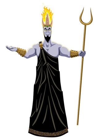 Hades, lord of the Underworld, on white background. No transparency and gradients used. Illustration