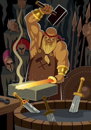 The smith god Hephaestus / Vulcan, forging a sword. No transparency used. Basic (linear) gradients. Illustration