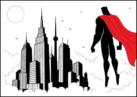 Superhero watching over city. No transparency and gradients used. A4 proportions.