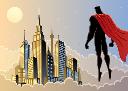 Superbohater czuwa nad miastem. Nie przejrzystości używane. Podstawowe (liniowy) gradienty. Proporcje A4. Ilustracje wektorowe