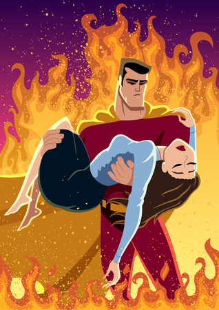 Illustration of superhero carrying woman in his arms. No transparency and gradients used.
