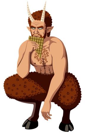 tanzen cartoon: Griechische Gott Pan spielt Syrinx. Keine Transparenz und Verläufe verwendet.