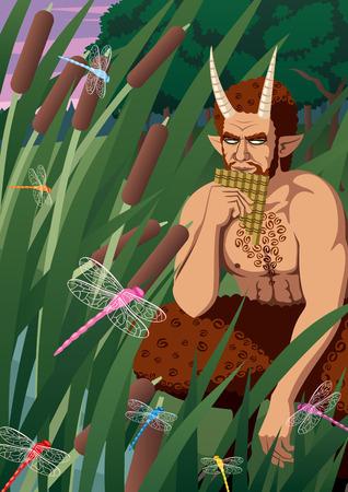 greek god: Dios griego Pan tocando siringe. Sin transparencia utilizada. Gradientes B�sicas (lineal). Vectores