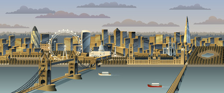 tower of london: London cityscape. No transparency used. Basic (linear) gradients.