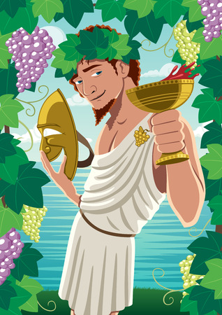 olympian: The god of wine Dionysus  Bacchus proposing toast. No transparency used. Basic (linear) gradients. Illustration