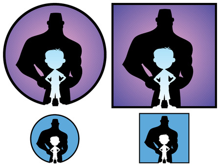 man shadow: Conceptual illustration of little boy with grown man shadow, in 4 versions.