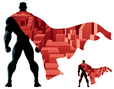 Abstract illustration of superhero and city. No transparency used. Basic (linear) gradients. 2 color versions. Vettoriali