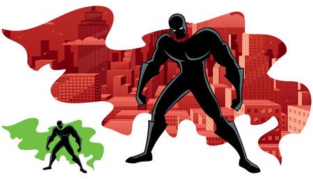 スーパー ヒーローと市の抽象的なイラスト。透明度は使用なし。基本的な (線形) グラデーション。含まれているカスタムの二重露光の緑のケープ付