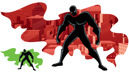 Abstract illustration of superhero and city. No transparency used. Basic (linear) gradients. Version with green cape for custom double exposure included. Imagens - 43177729