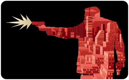 hombre disparando: Ilustraci�n abstracta de hombre disparando con pistola.