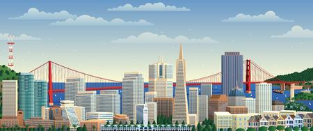 San Francisco の街並み。  イラスト・ベクター素材
