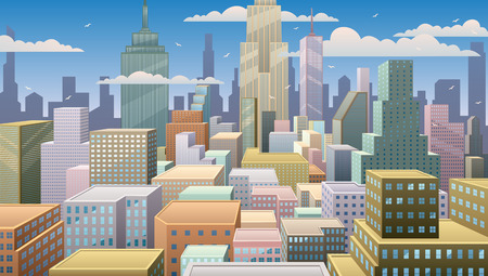 comic background: Cityscape at noon. Basic (linear) gradients used. No transparency.