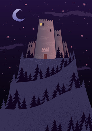 'dark ages': Cartoon castle on steep hill at night. No transparency used. Basic (linear) gradients.
