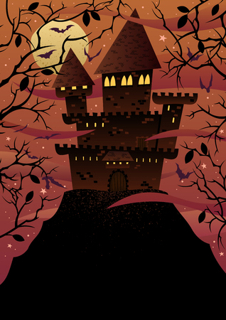 'dark ages': Spooky cartoon castle on steep hill with copy space. No transparency used. Basic (linear) gradients.