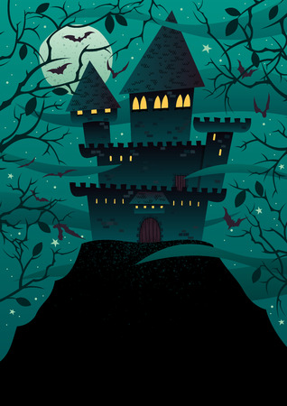Spooky cartoon castle on steep hill with copy space. No transparency used. Basic (linear) gradients.