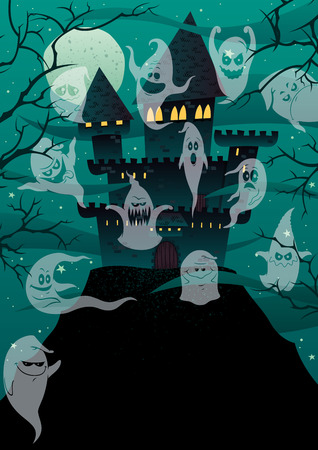 'dark ages': Haunted cartoon castle on steep hill with copy space.