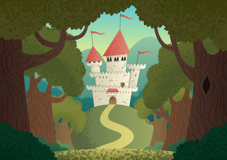 Cartoon fantasy castle. No transparency used. Basic (linear) gradients. Illustration