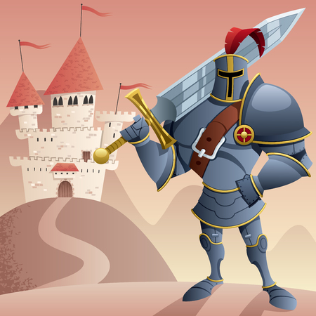 crusader: Cartoon knight in front of castle.