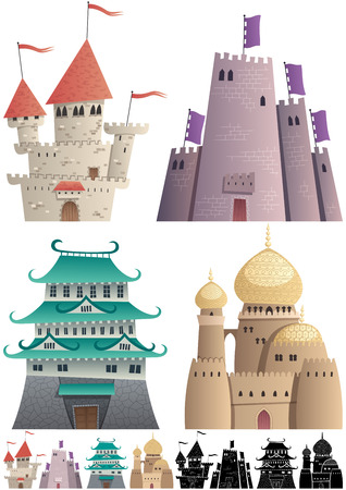 Set of cartoon castles on white background in 3 versions: One with gradients, other without gradients, and still other with silhouettes. Illustration
