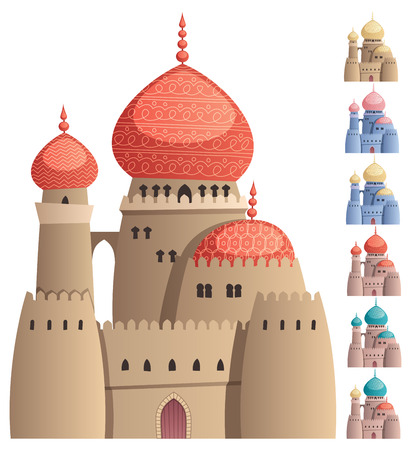 Cartoon Arabian castle on white background in 7 color versions. No transparency used. Basic (linear) gradients. Vettoriali