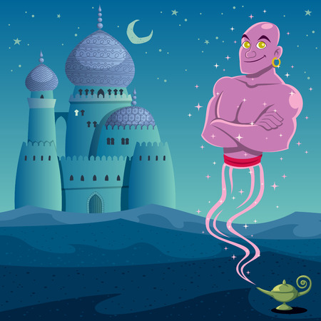 Genie coming out of lamp in Arabian desert. No transparency and gradients used.