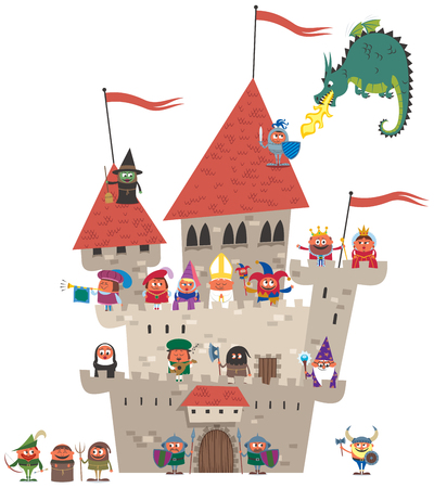 Small cartoon kingdom on white background. No transparency and gradients used. Vettoriali