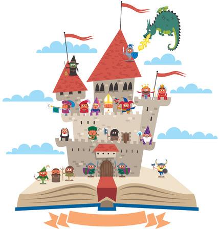Open boek met sprookjesachtige kasteel op het, op een witte achtergrond. Geen transparantie en gradiënten gebruikt.