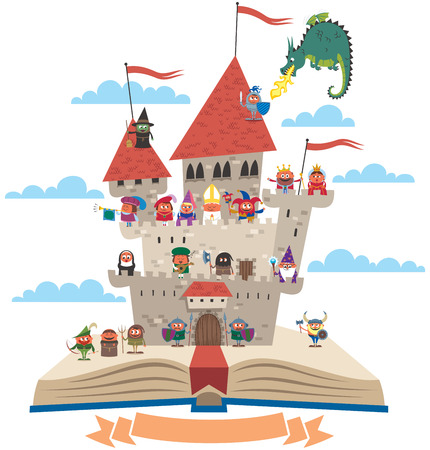 archer cartoon: Open book with fairy tale castle on it, on white background. No transparency and gradients used.