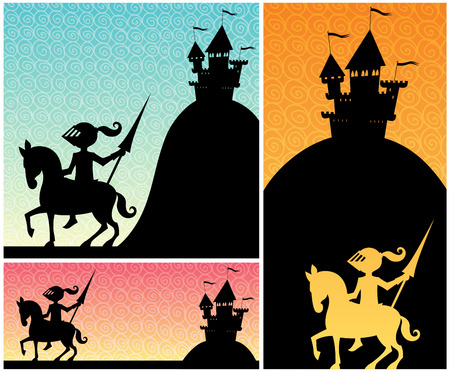 cartoon knight: Set of cartoon banners with knight and castle silhouettes, and copy space for your text. Illustration