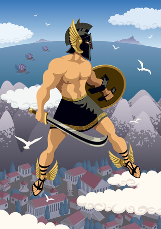 troy: Greek hero Perseus flying in his magic sandals. No transparency used. Basic (linear) gradients.