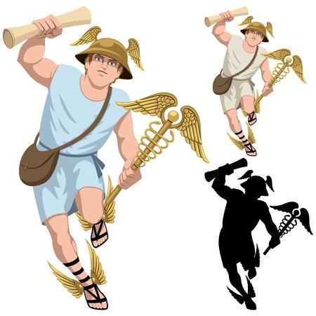 caduceo: Dios griego Hermes aislado en blanco y en 3 versiones. Vectores