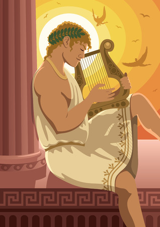 lyre: God of the sun Apollo playing his lyre. No transparency used.