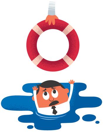 ayudando: Ilustraci�n del concepto de ahogamiento hombre que recibe ayuda.