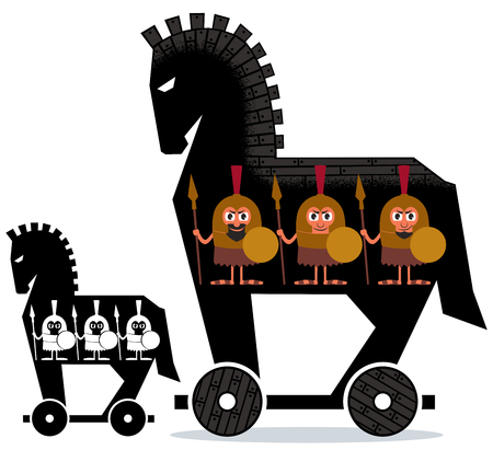 Cartoon Trojan horse with Greek soldiers in it in 2 versions.