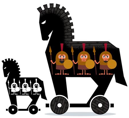 cavallo di troia: Cartoon cavallo di Troia con i soldati greci in esso in 2 versioni. Vettoriali
