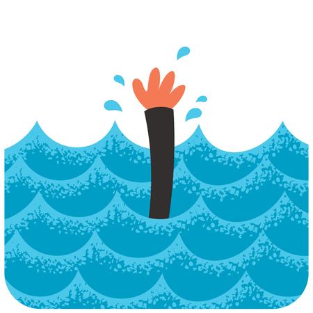 Cartoon illustration of drowning man.
