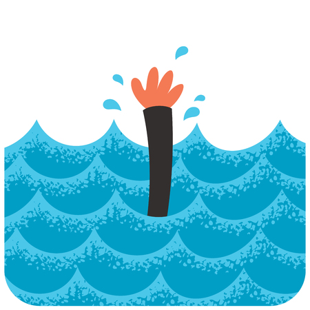 Cartoon illustration of drowning man.