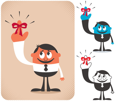 finger bow: Illustration of businessman with red reminder ribbon on his finger in 3 versions. Illustration