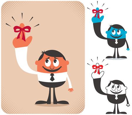 dedo: Ilustraci�n del hombre de negocios con cinta recordatorio rojo en el dedo en 3 versiones.