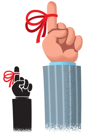 Cartoon of index finger with red reminder ribbon.