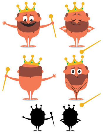 Cartoon naked emperor over white background in 6 versions.
